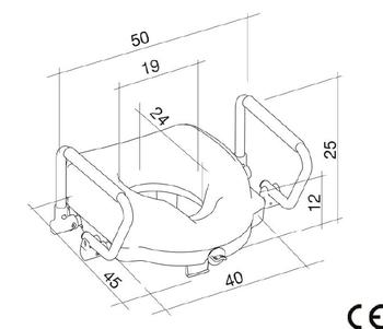 Nástavec na WC 12cm s odklopnými madly  - 2