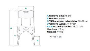 Sedačka do sprchy tvaru U s opěrkou zad  - 2