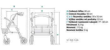 Chodítko čtyřkolové RA882 -šedé (GRAFIT) - 2