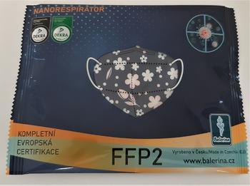 DĚTSKÝ respirátor Balerina S, FFP2, vzor 8, 1ks  - 3