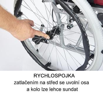 Invalidní vozík Timago H011 40 cm / stříbrná, nosnost 115 kg - 3