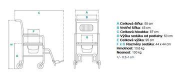 Toaletní křeslo pojízdné FS 692  - 4