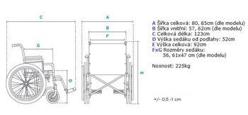 Invalidní vozík Timago K7, nosnost 225kg (XL,XXL)  - 4